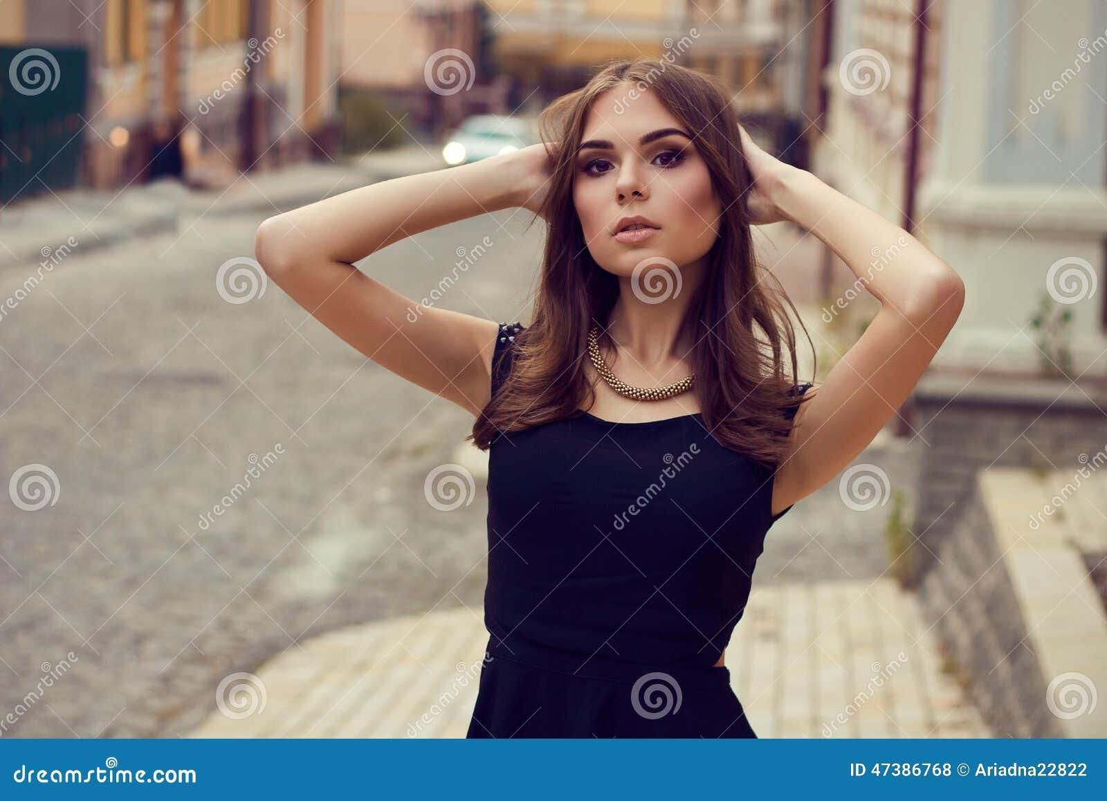 Young beautiful girl. Street fashion. Model shooting