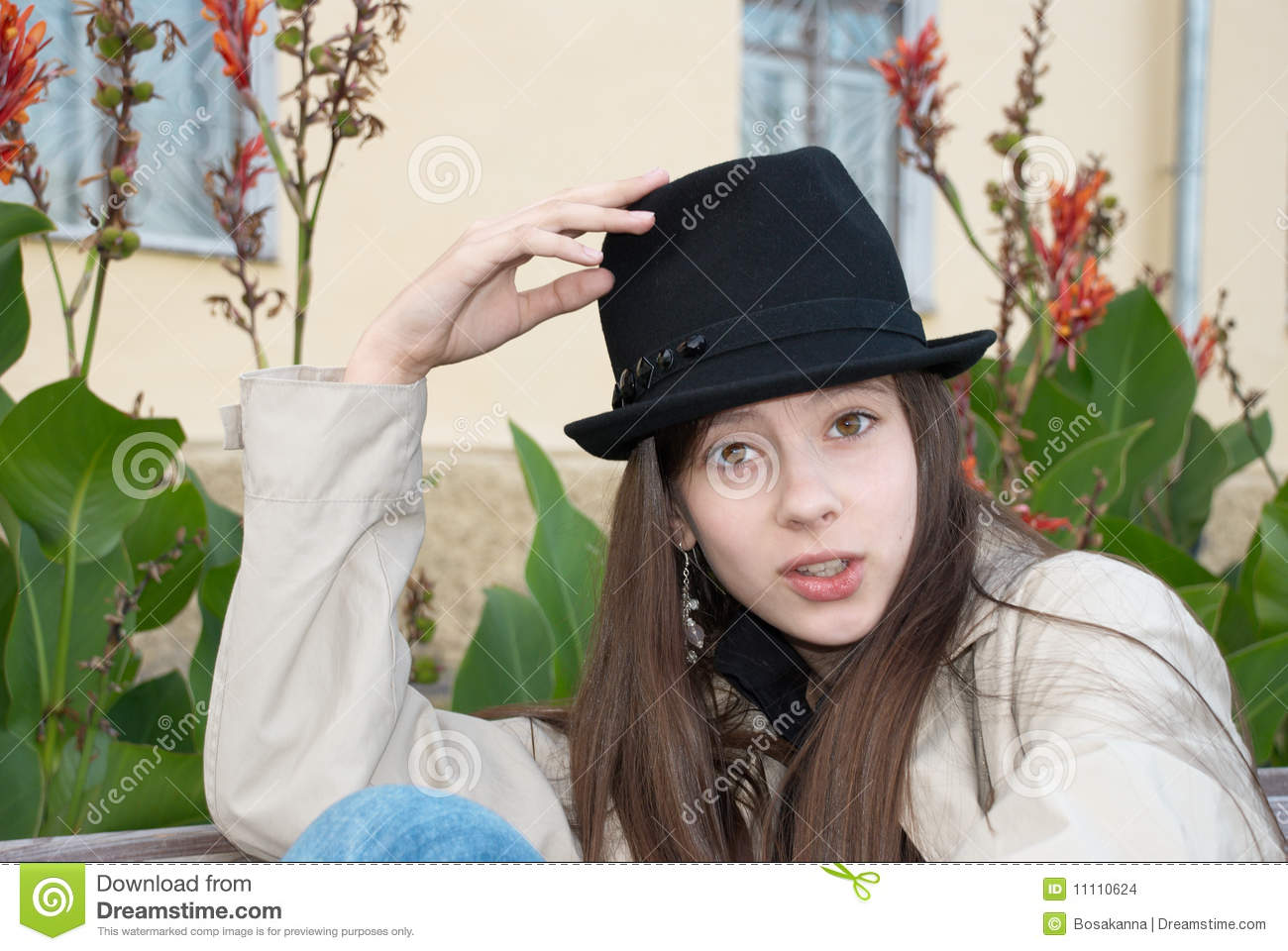 Young Beautiful Girl In A Trilby Hat Stock Photo - Image of beauty ... 90269f1786b