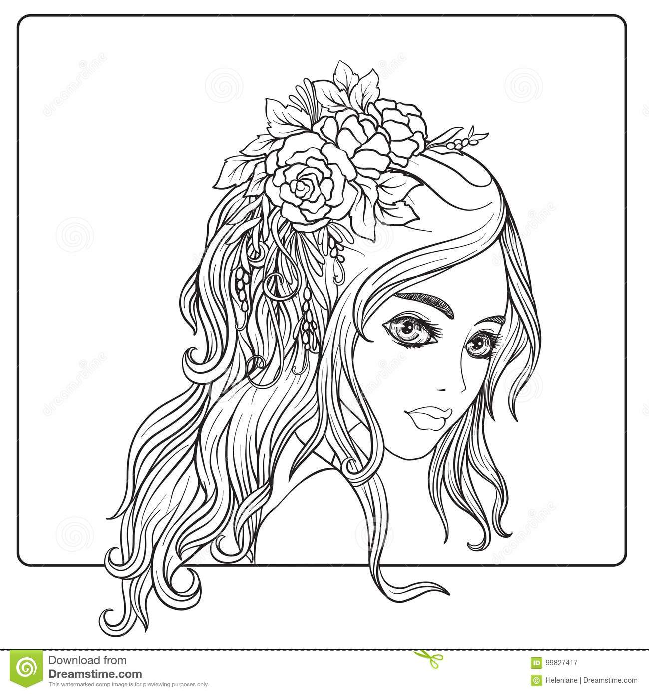 A Young Beautiful Girl With A Wreath Of Flowers On Her Head. Stock ...