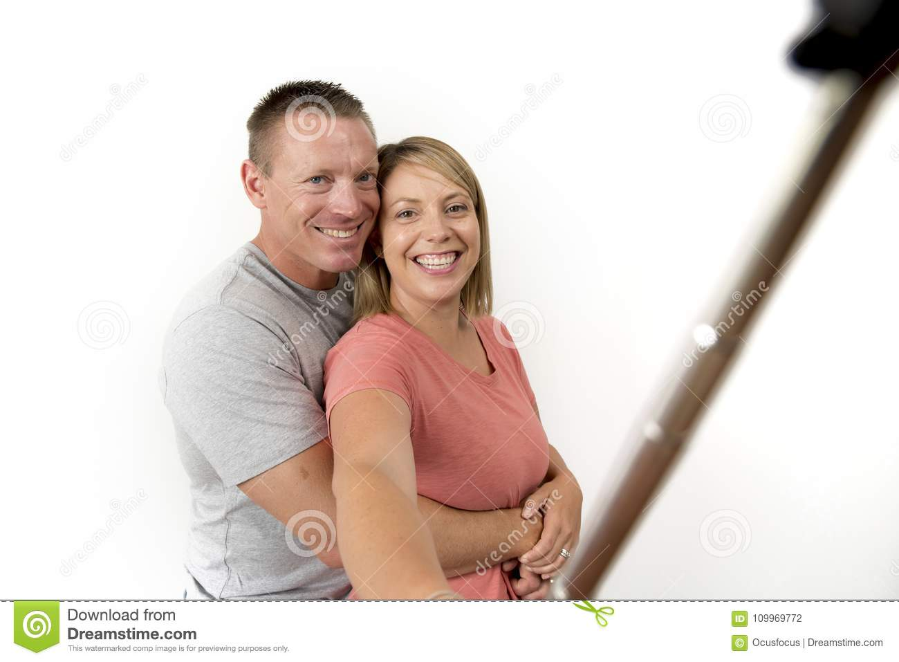 Young Beautiful Happy And Attractive Romantic Couple With Husband