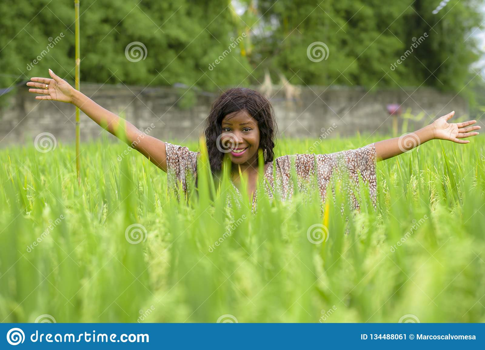 Young beautiful and happy black afro American woman in cool dress having fun at tropical rice field enjoying exotic holidays trip