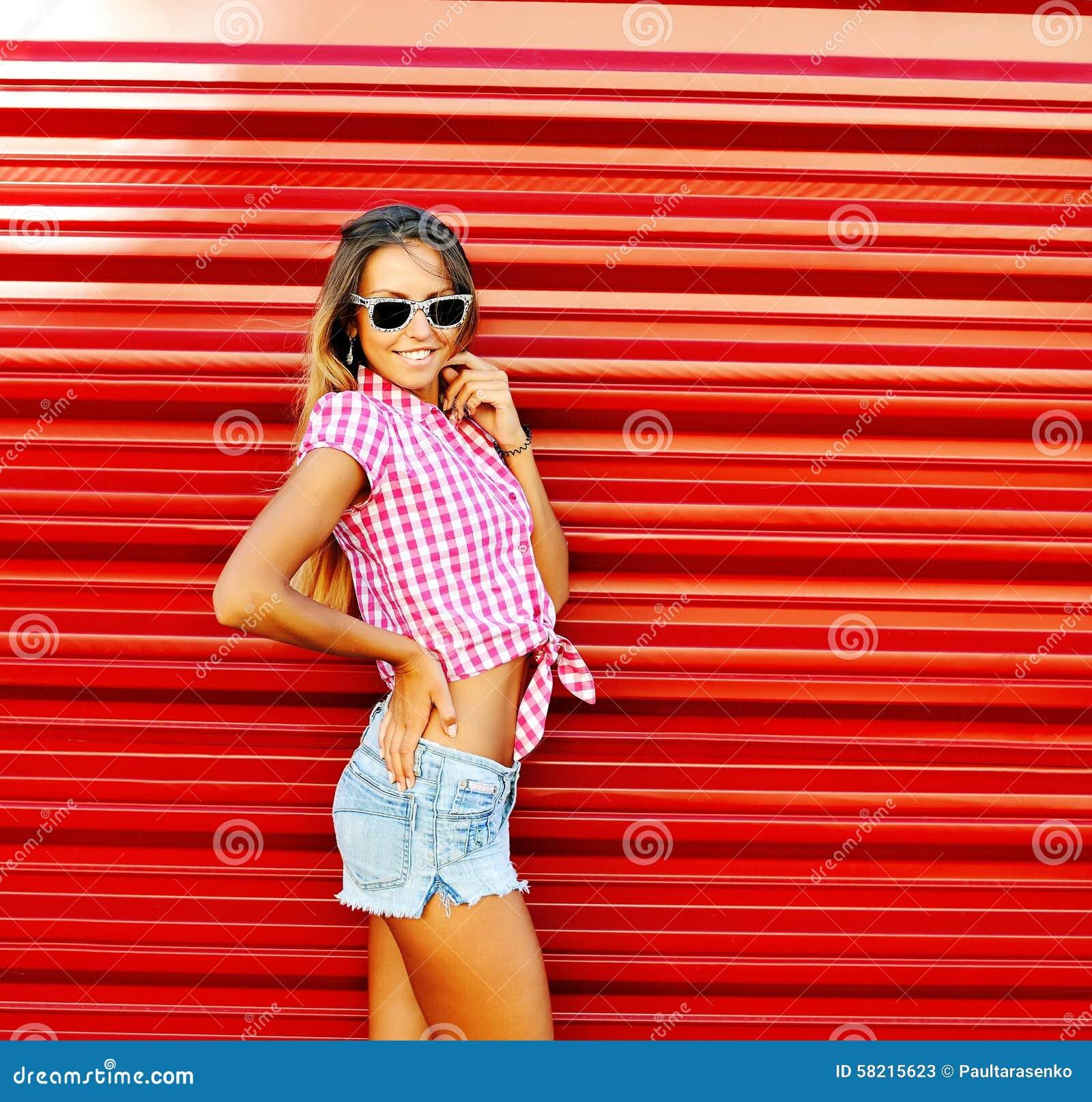 Young Beautiful Happy Stylish Modern Girl Outdoor Portrait Stock ...