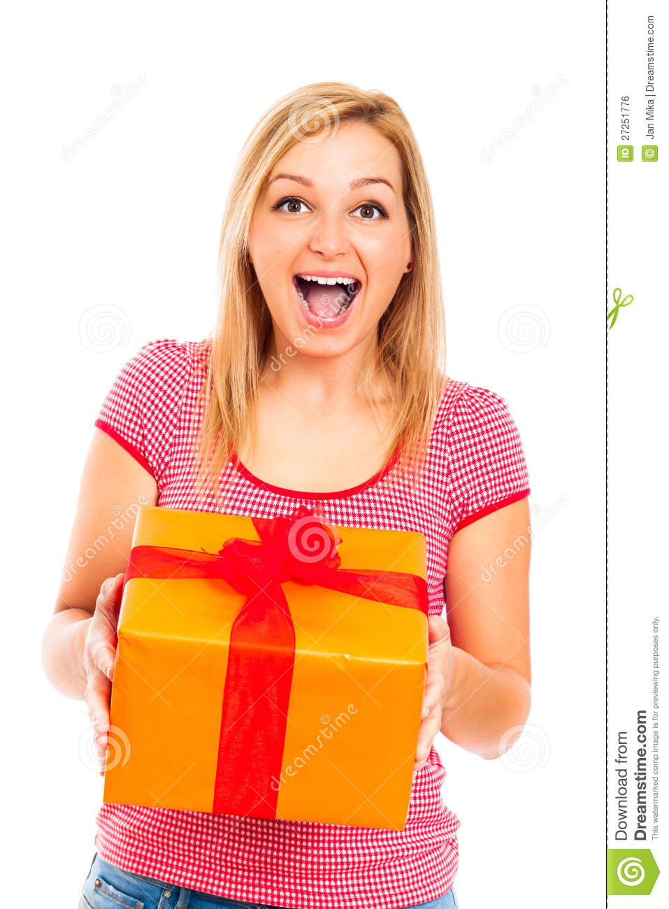 6602eac1b177 Young Beautiful Happy Surprised Woman With Gift Stock Photo - Image ...