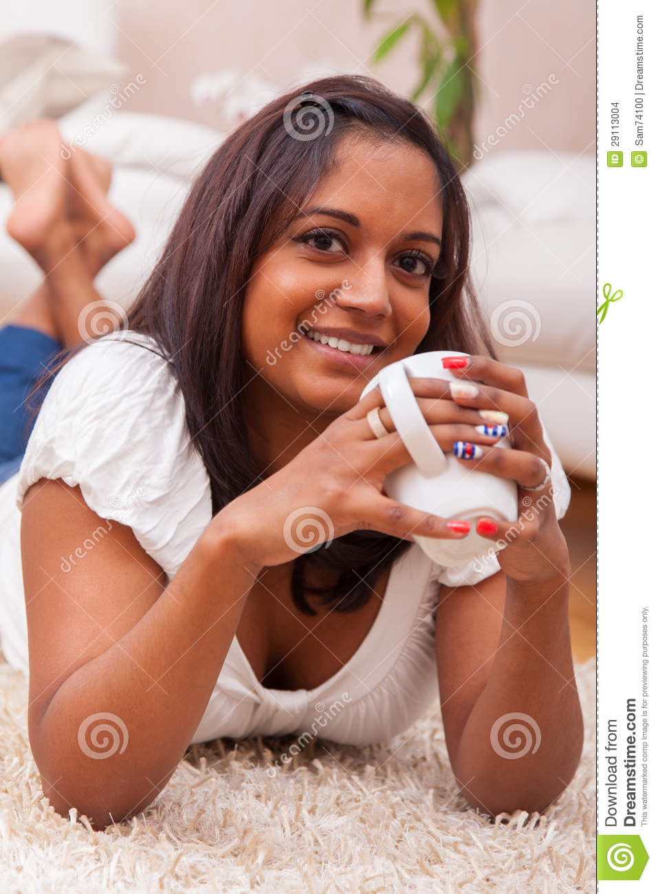 Young Beautiful Indian Woman Drinking Coffee Stock Images