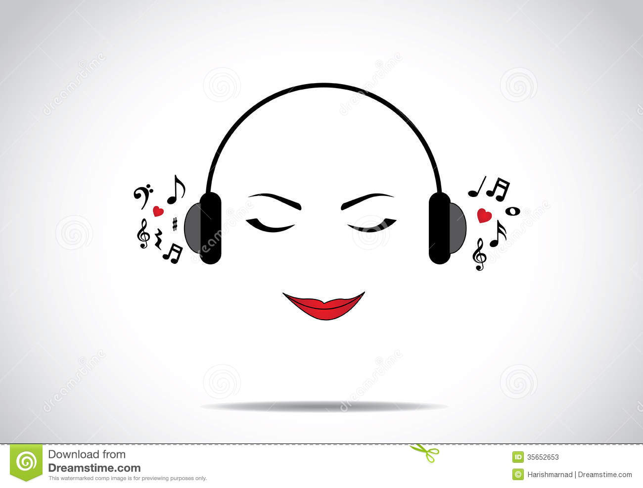 Young Beautiful Lady Or Girl Woman Illustration Of Listening To Great Music With Closed Eyes