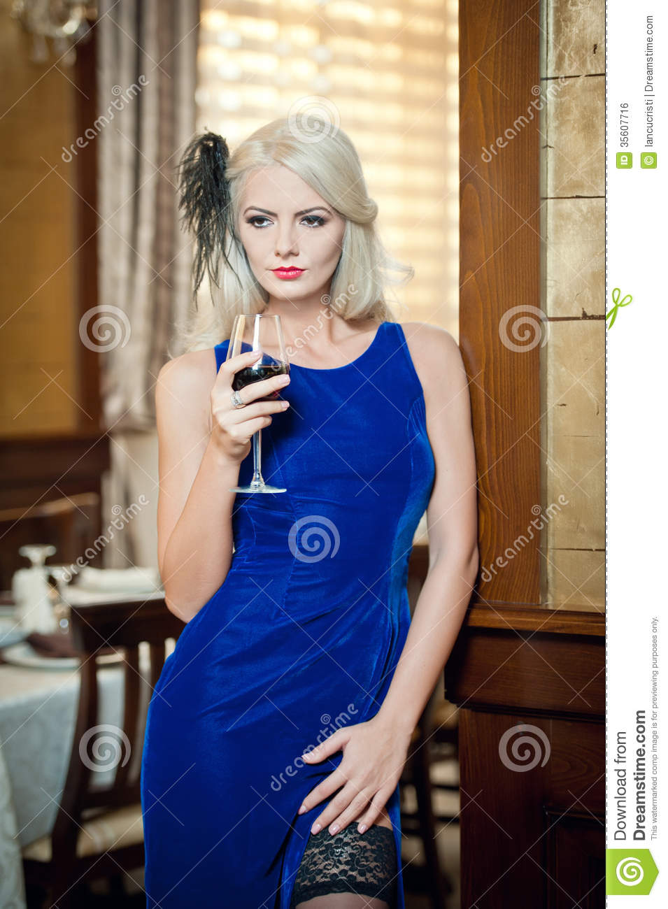 Blue Dress with Glass