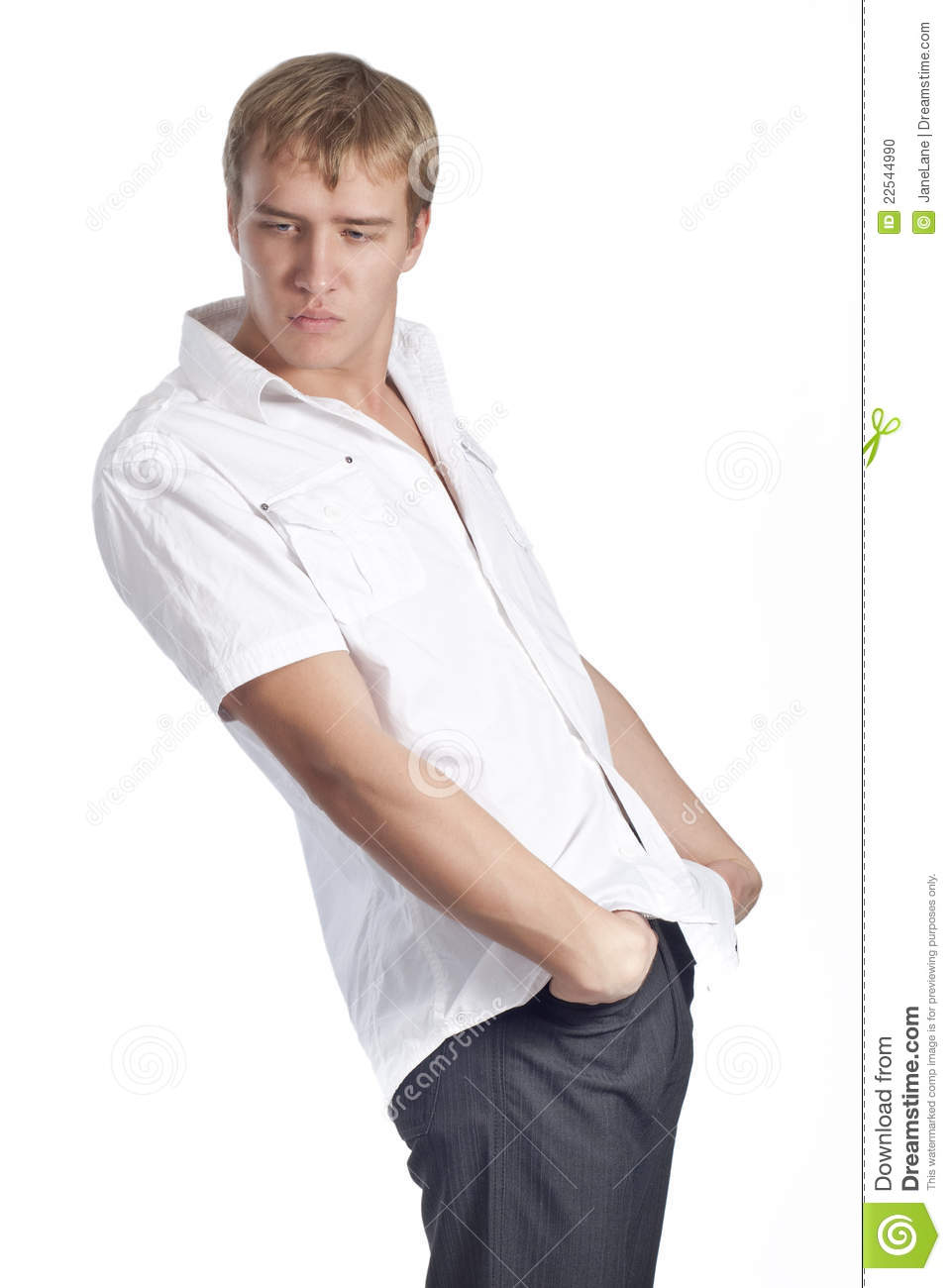 Young beautiful male model in white shirt stock photo for Model white t shirt