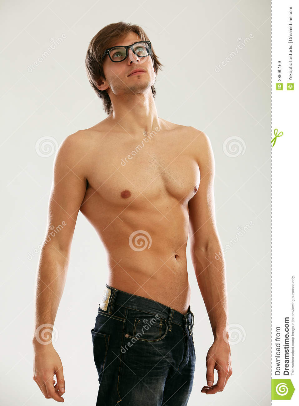 Young Handsome Man With Naked Torso Stock Image - Image of