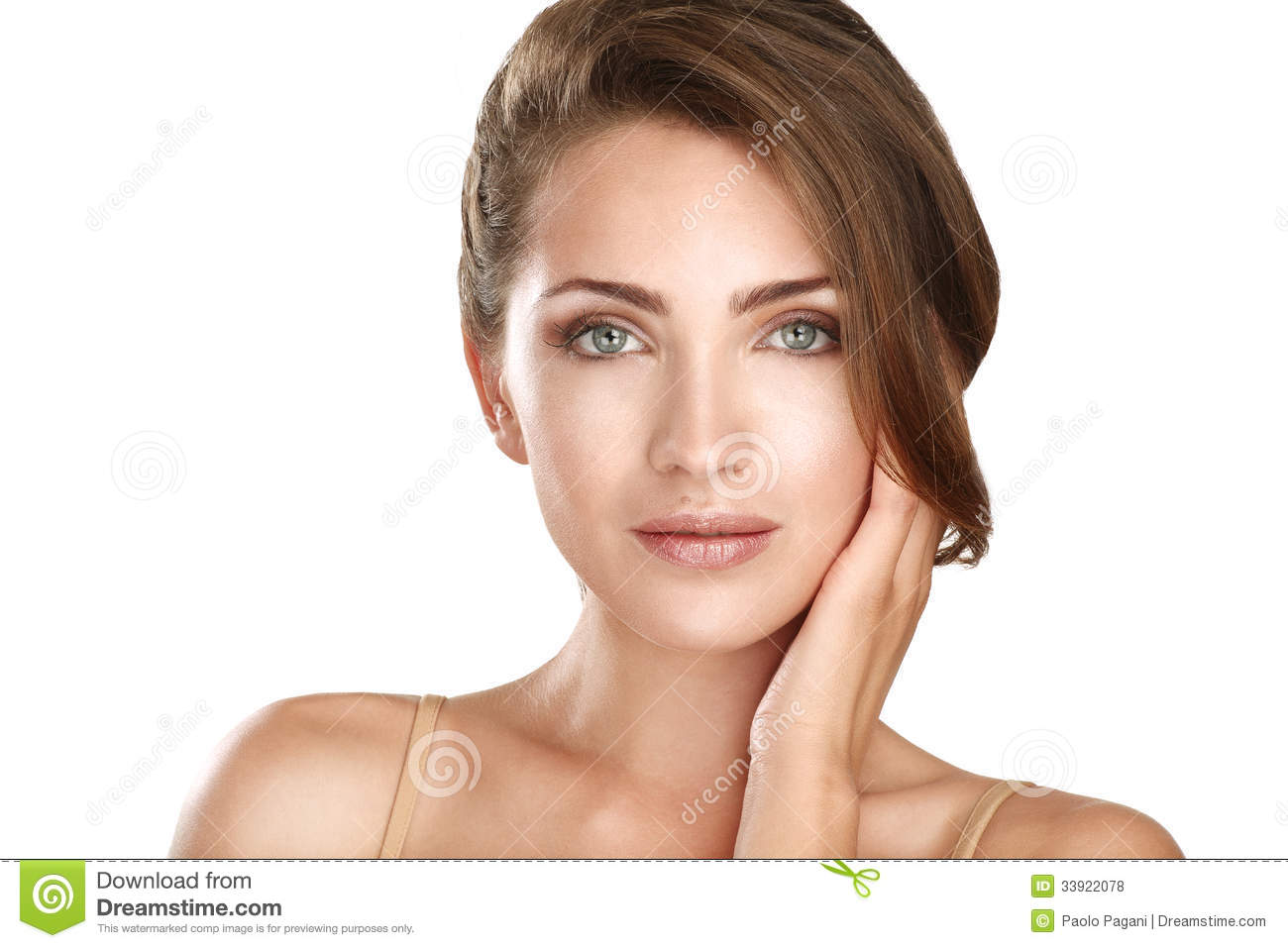 Young beautiful model close up posing for perfect skin