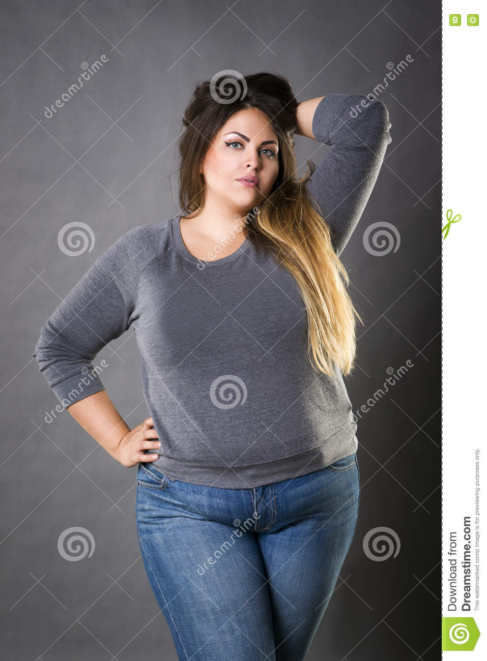 Young Beautiful Plus Size Model In Blue Jeans, Xxl Woman ...