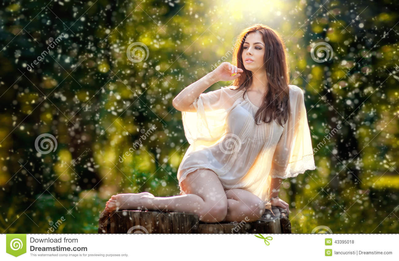 Young Beautiful Red Hair Woman Wearing A Transparent White -6181