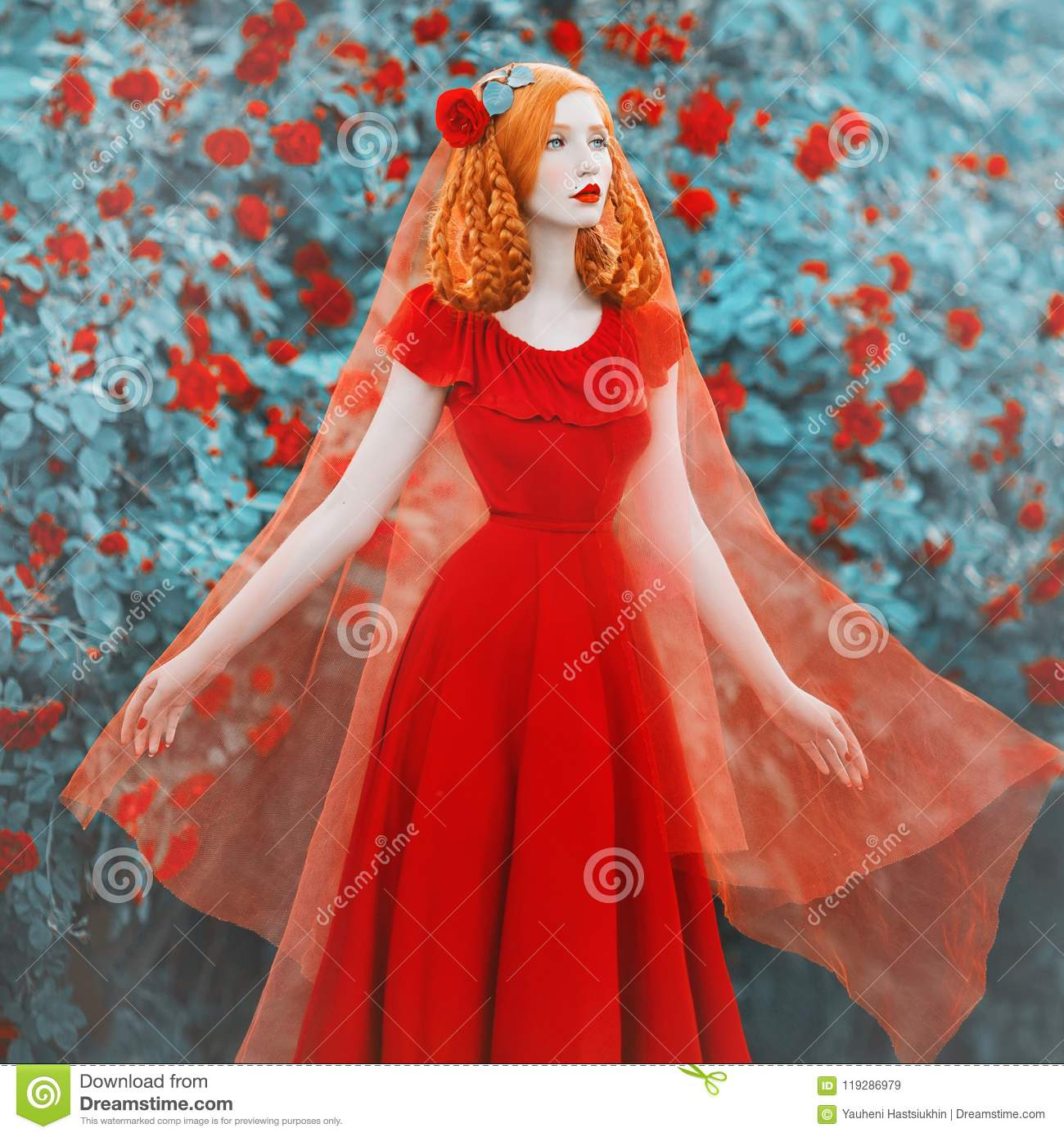 Young beautiful redhead girl with very long hair braided in plait with rose on her head.