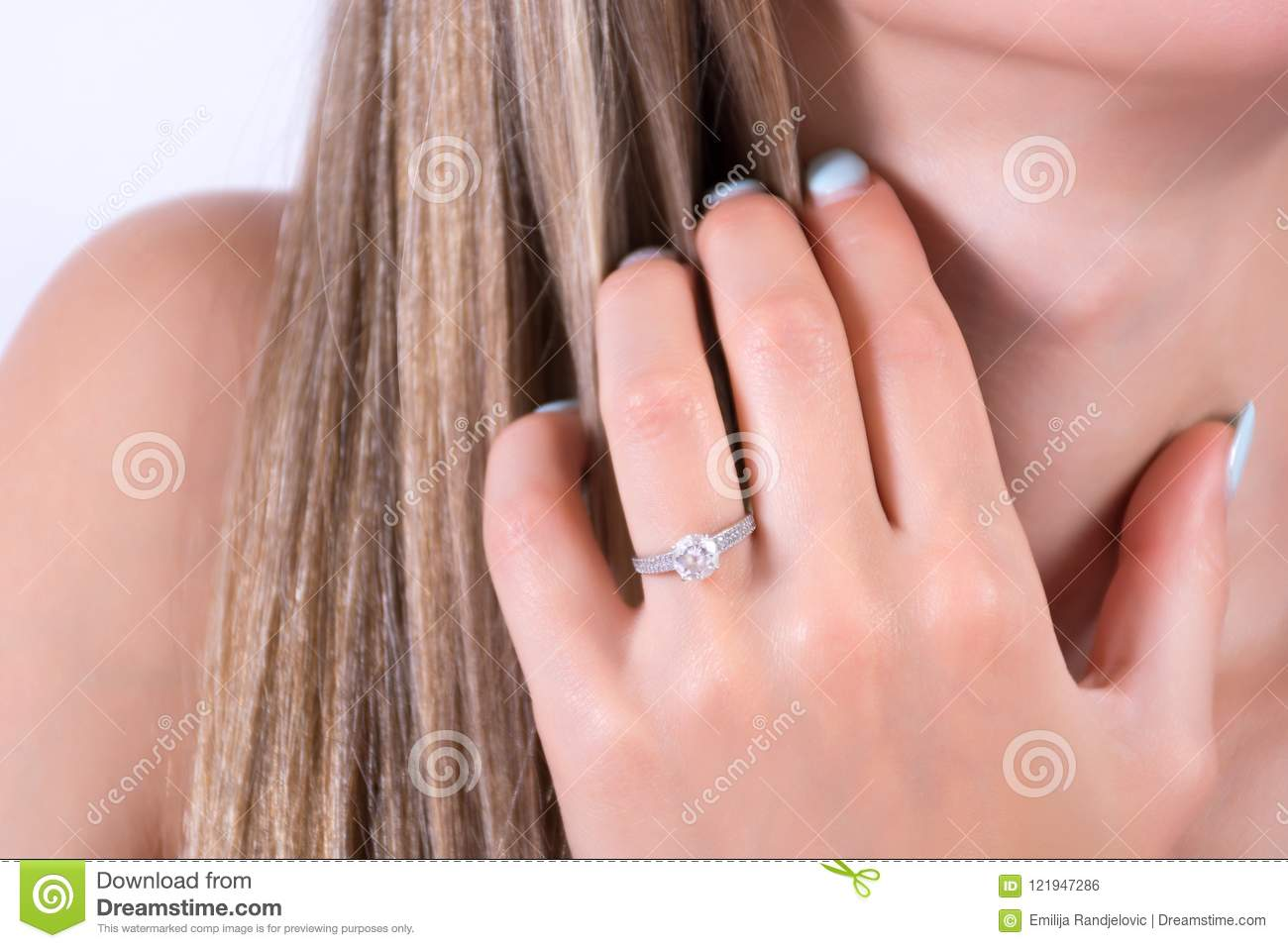Young Female Hand With Engagement Wedding Ring On Finger And Hand ...