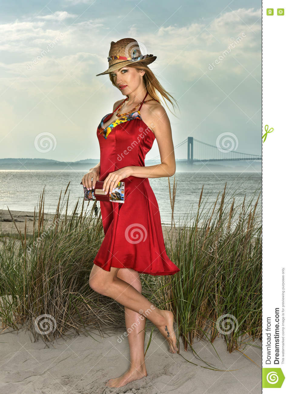 Young Beautiful Blonde Woman Wearing Straw Hat And Elegant ... - photo#35