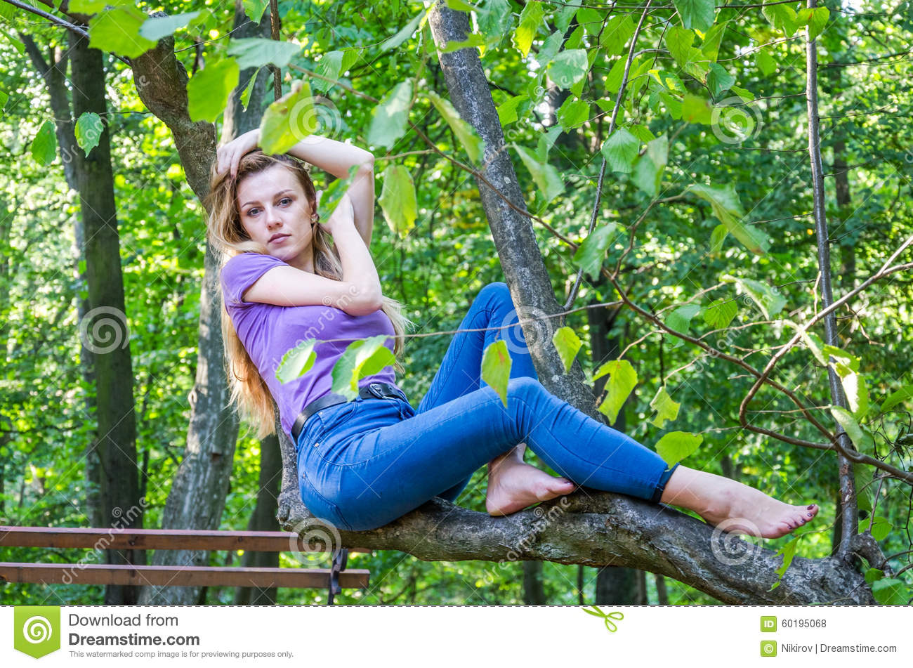 https://thumbs.dreamstime.com/z/young-beautiful-sexy-girl-model-european-appearance-long-hair-shirt-jeans-sitting-tree-walk-60195068.jpg