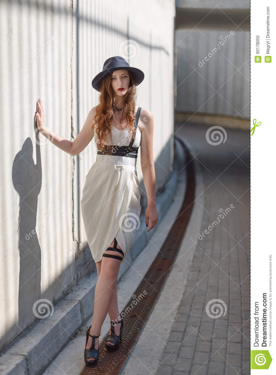 Young Beautiful Woman Wearing Trendy Outfit, White Dress ...