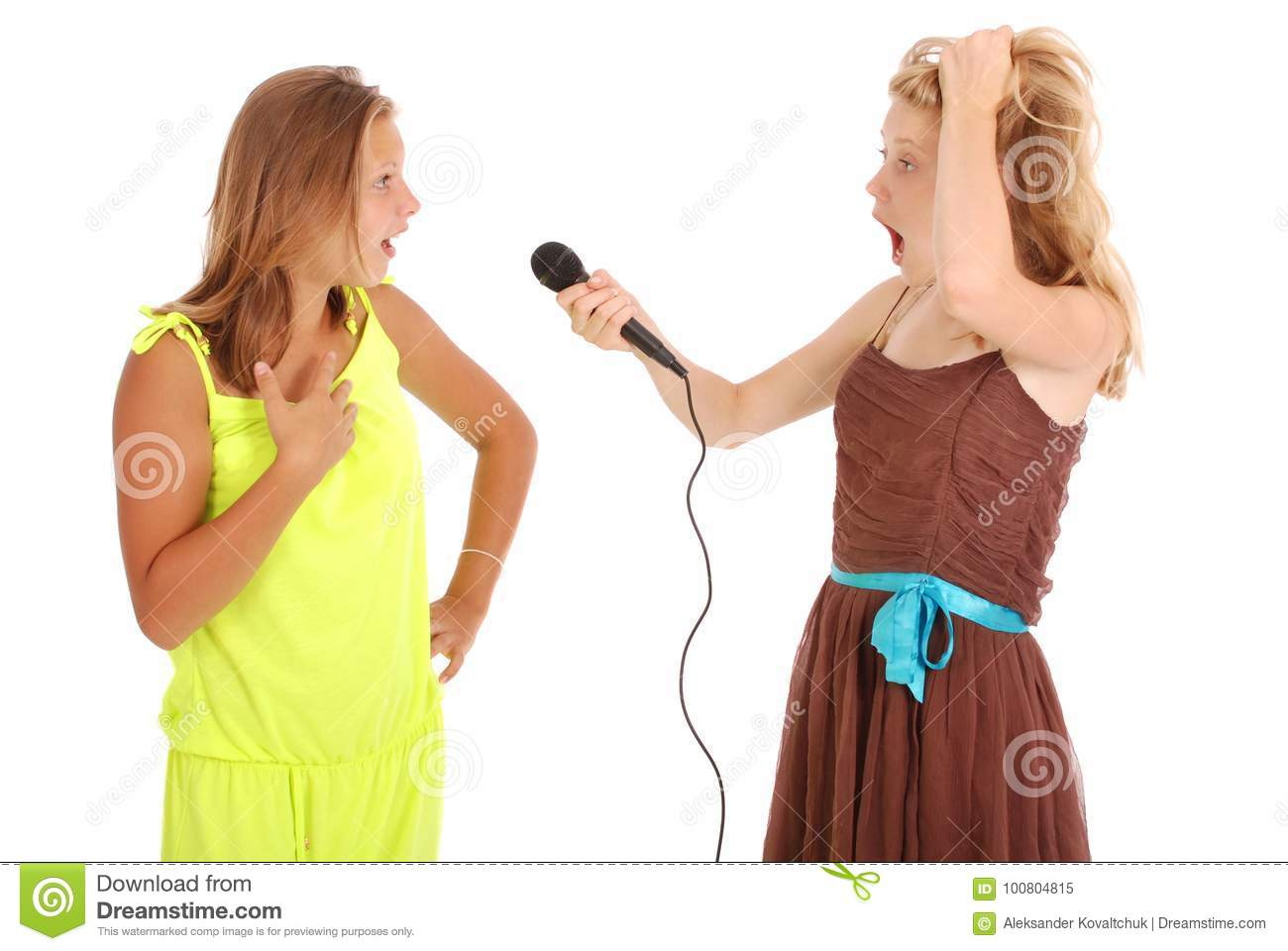 Young beautiful teenage girl conducts interviews with the singer