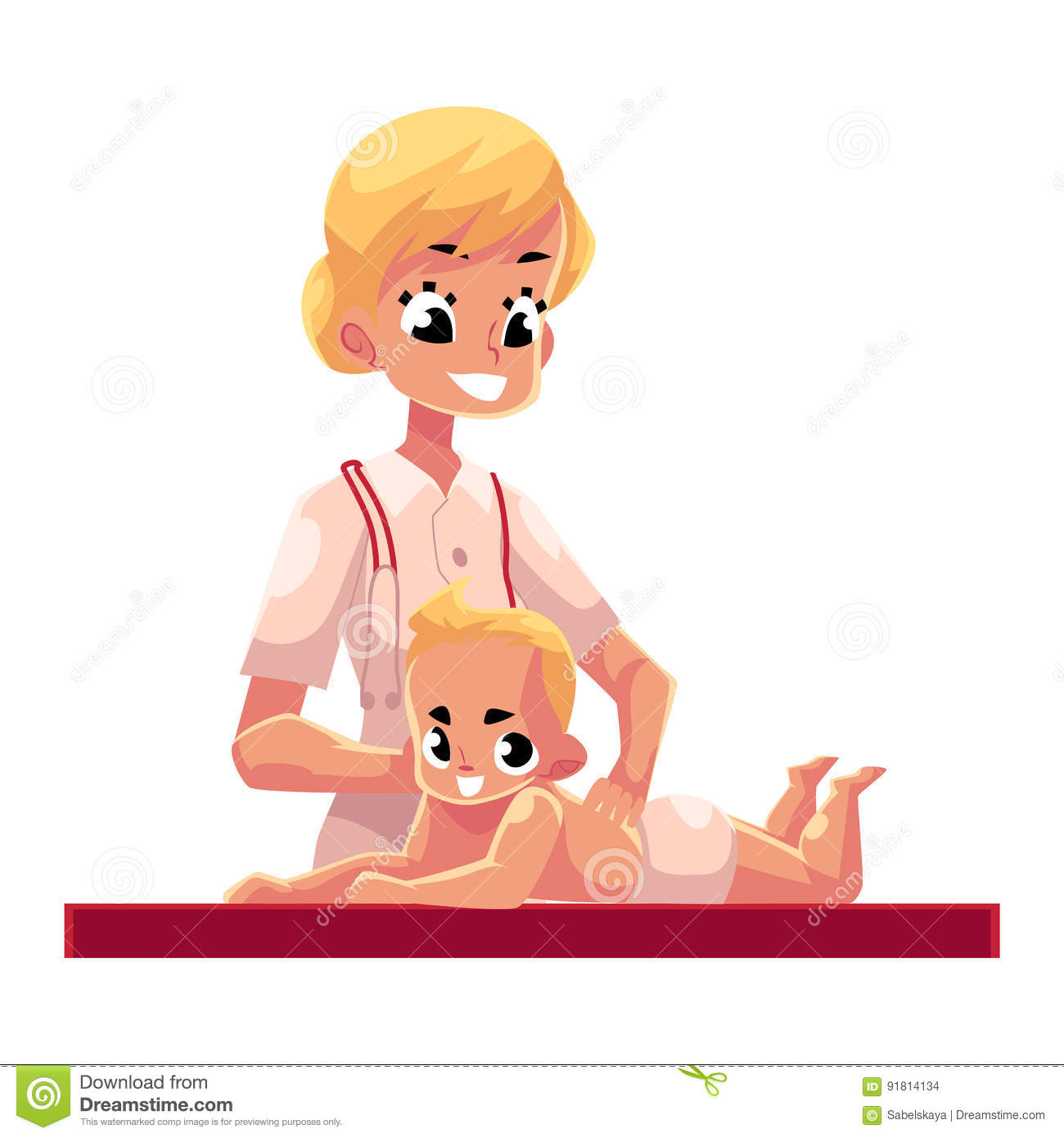 Young Beautiful Therapist Doing Baby Massage, Cartoon ...
