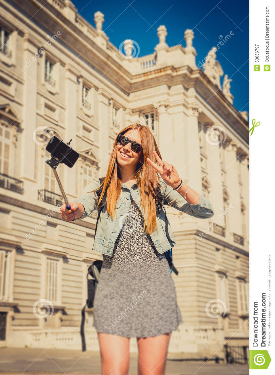 Young Beautiful Tourist Girl Visiting Europe In Holidays ... |Europe Tourist Taking