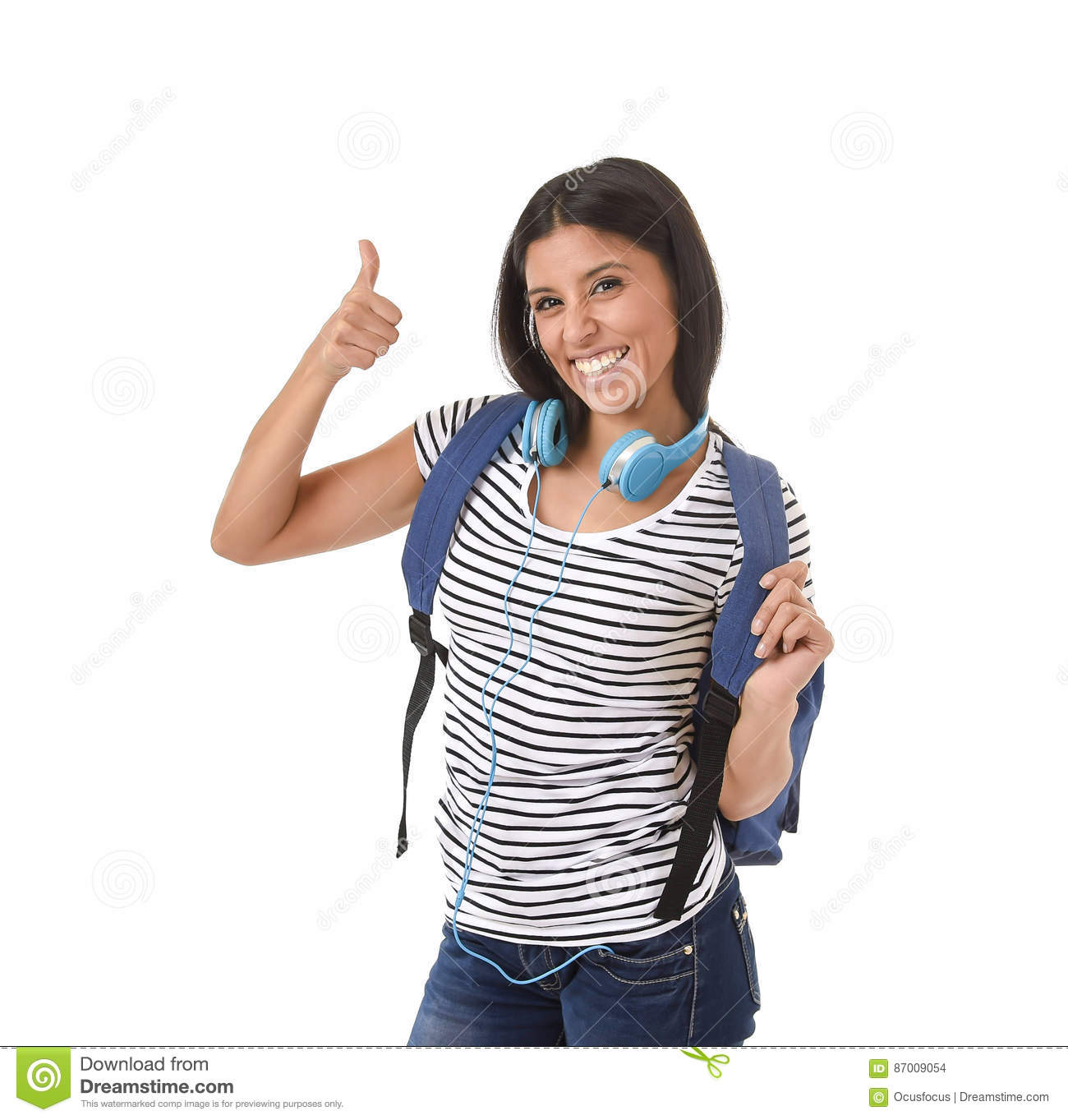 Young beautiful and trendy latin student girl carrying backpack smiling happy and confident