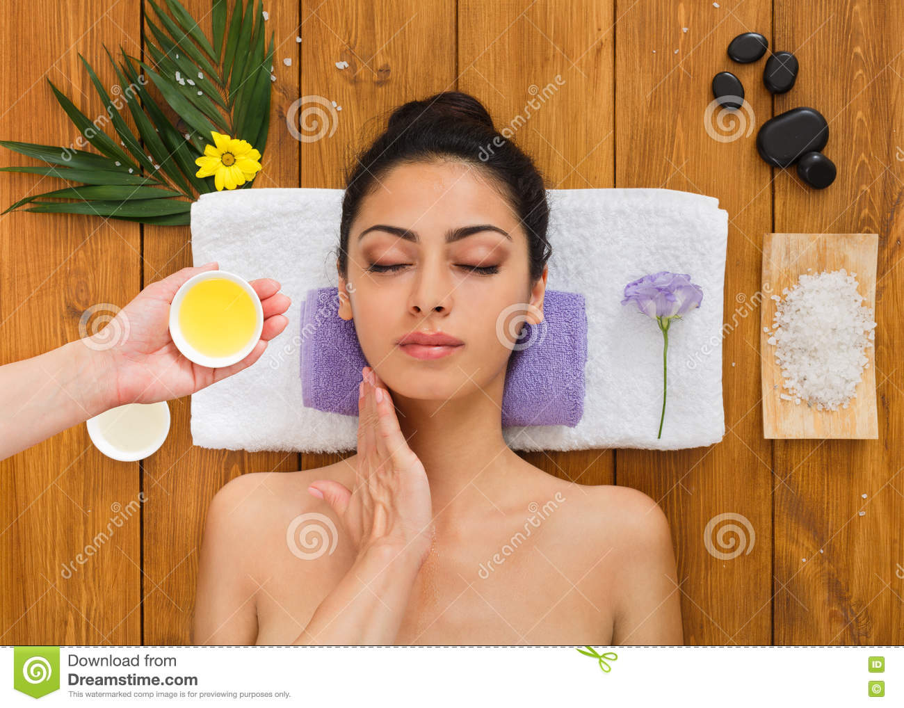 Young Beautiful Woman In Aroma Spa Wellness Center Stock