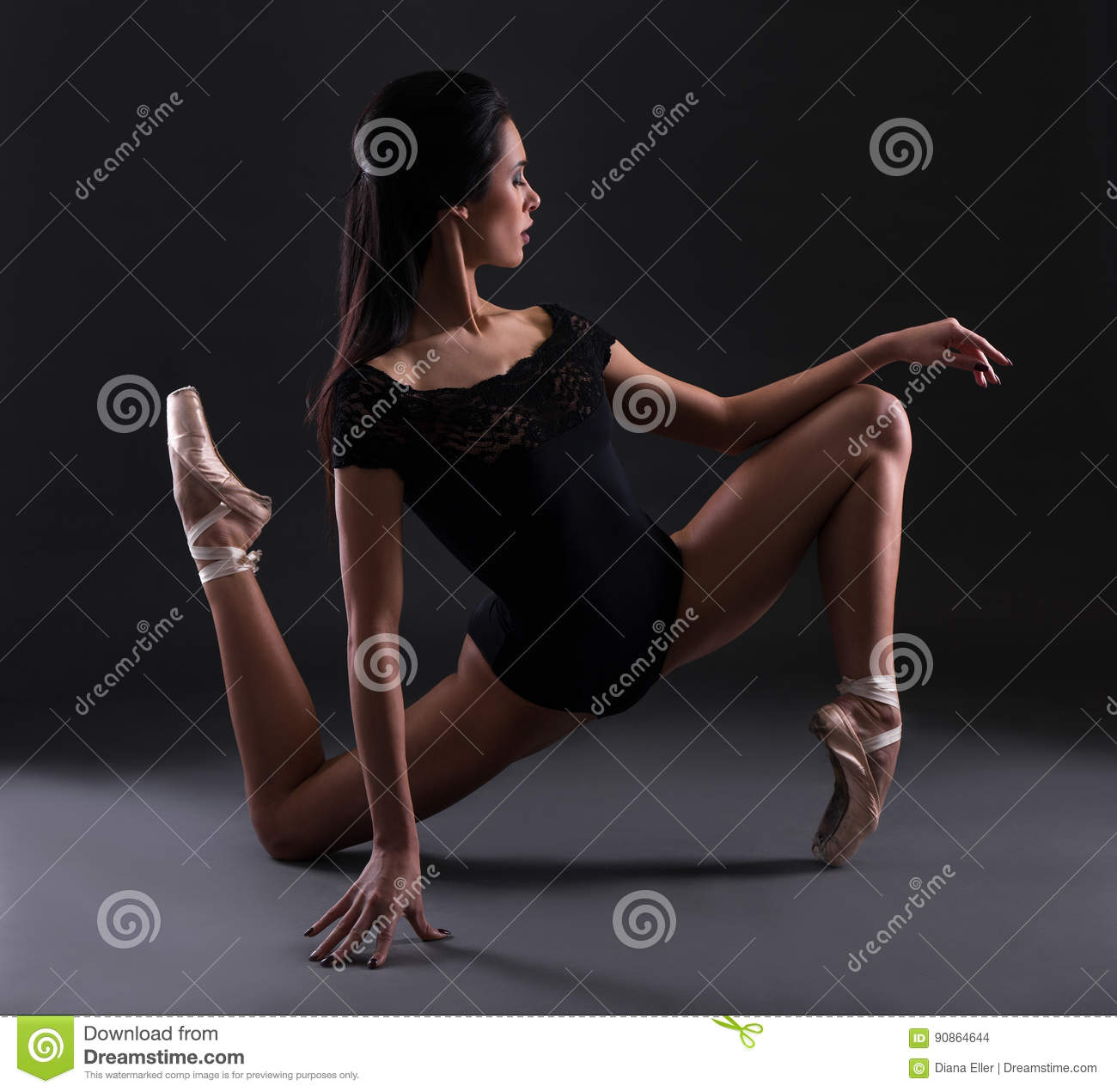 Download Young Beautiful Woman Ballerina In Black Body Suit Posing Over B Stock Photo - Image of girl, action: 90864644