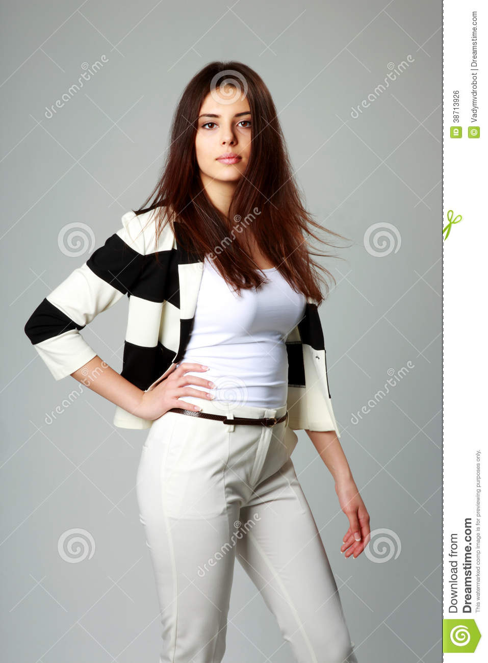 young beautiful woman in casual clothes stock photo