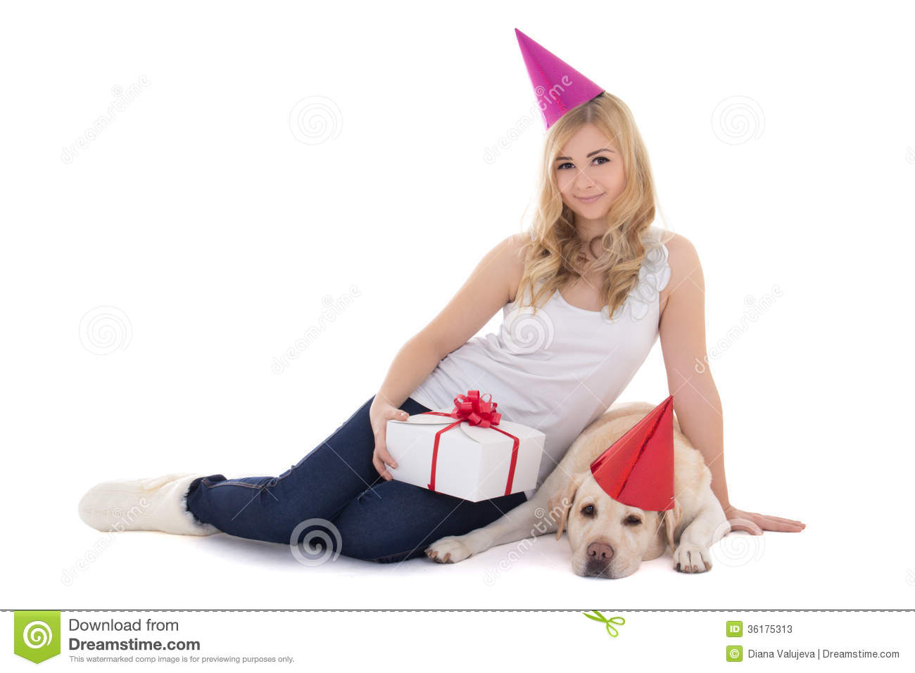 Young Beautiful Woman And Dog In Birthday Hats Isolated On White