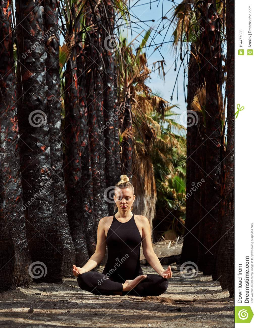 Young Beautiful Woman Doing Meditation In Nature Stock Photo Image Of Chakra Asana 124477380
