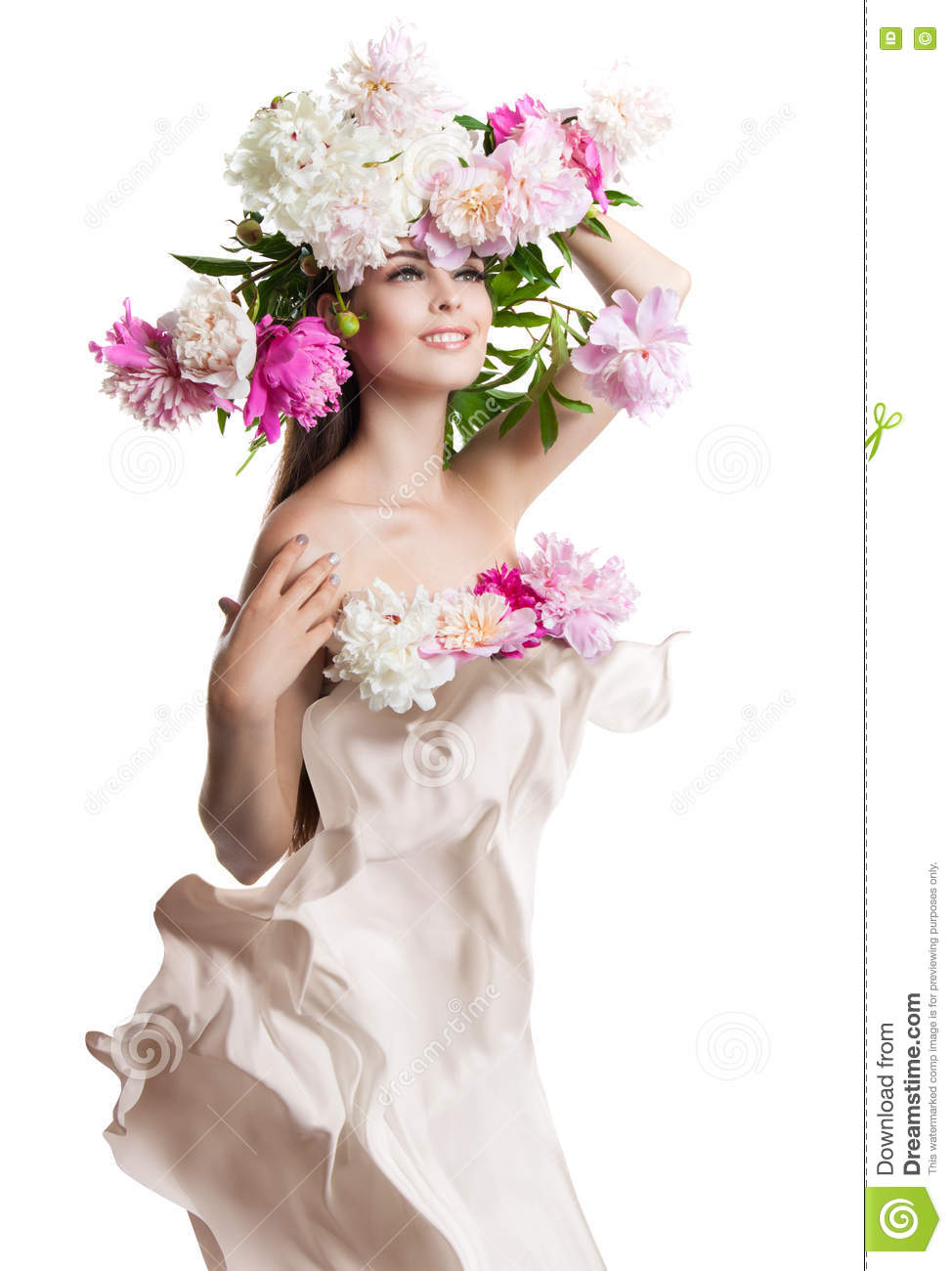 Young beautiful woman with flowers peonies beautiful flowers and young beautiful woman with flowers peonies beautiful flowers and easy cloth flying dhlflorist Gallery