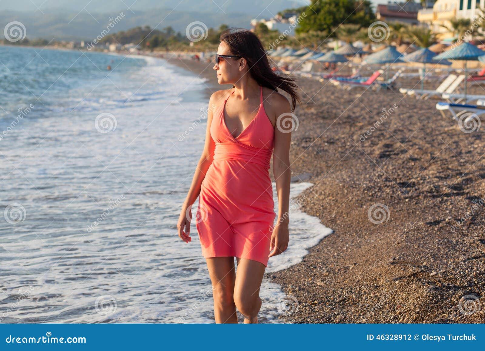 Young Beautiful Woman Girl Walking Along The Beach Stock ...