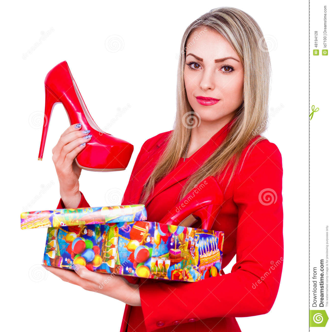 Young Beautiful Woman Happy To Receive Red High Heels ...
