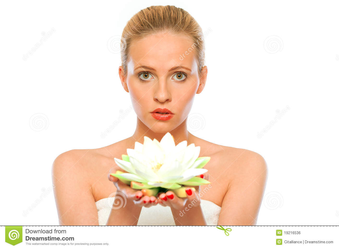 Young Beautiful Woman Holding Lotus Flower In Hand Stock ...