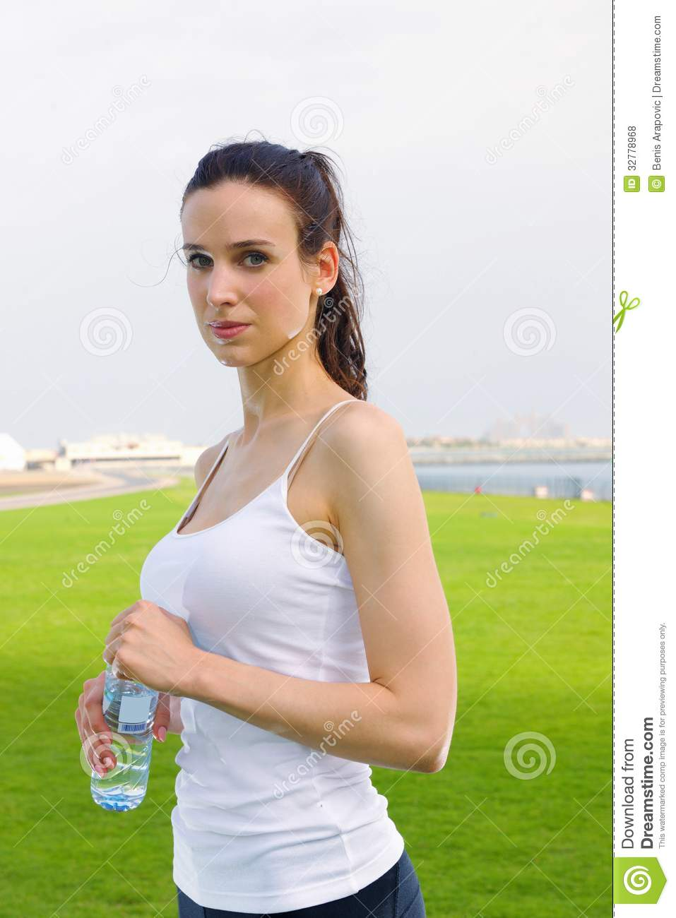 young beautiful woman jogging on morning royalty free