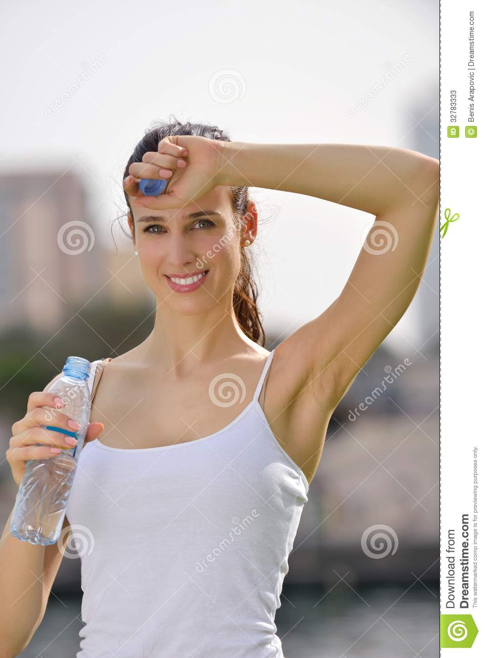 young beautiful woman jogging on morning stock image