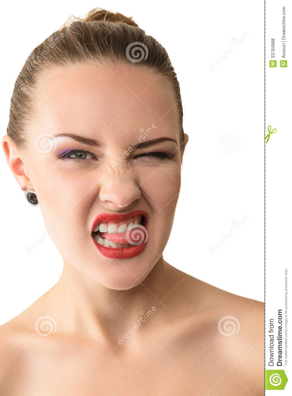 Young Beautiful Woman Pokes Out Her Sticking Tongues Isolated White Background Angry No