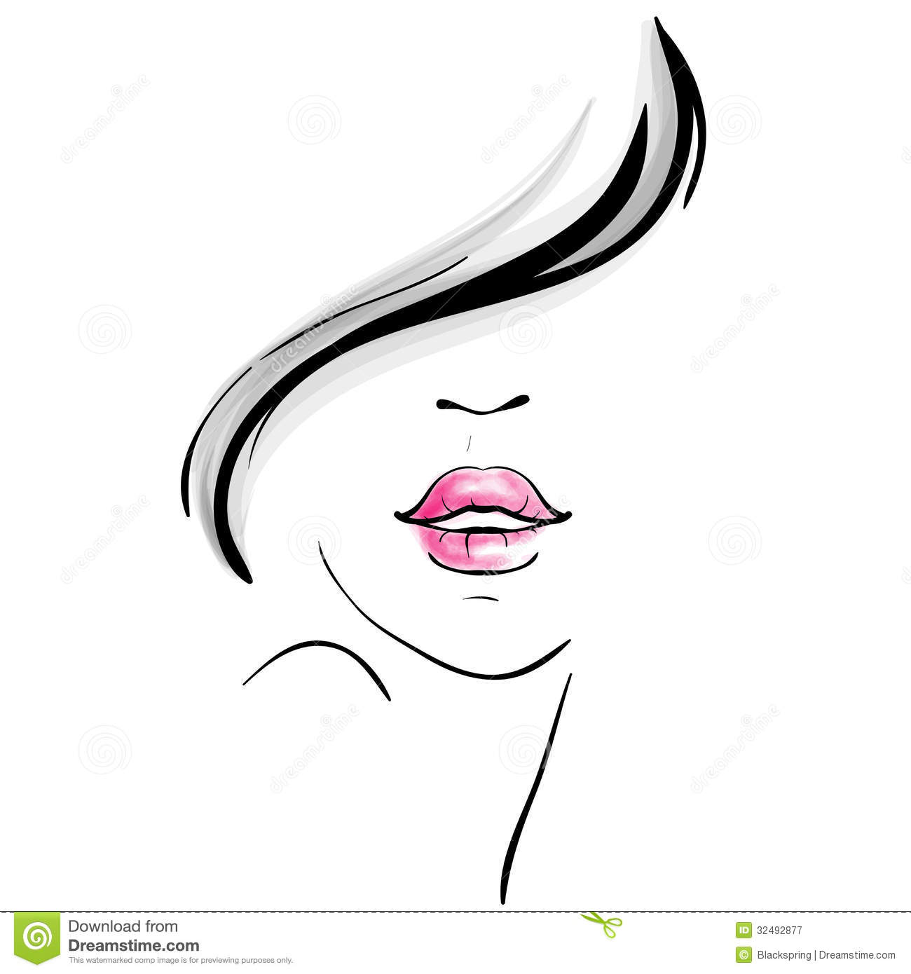 Young Beautiful Woman Portrait Sketch Royalty Free Stock