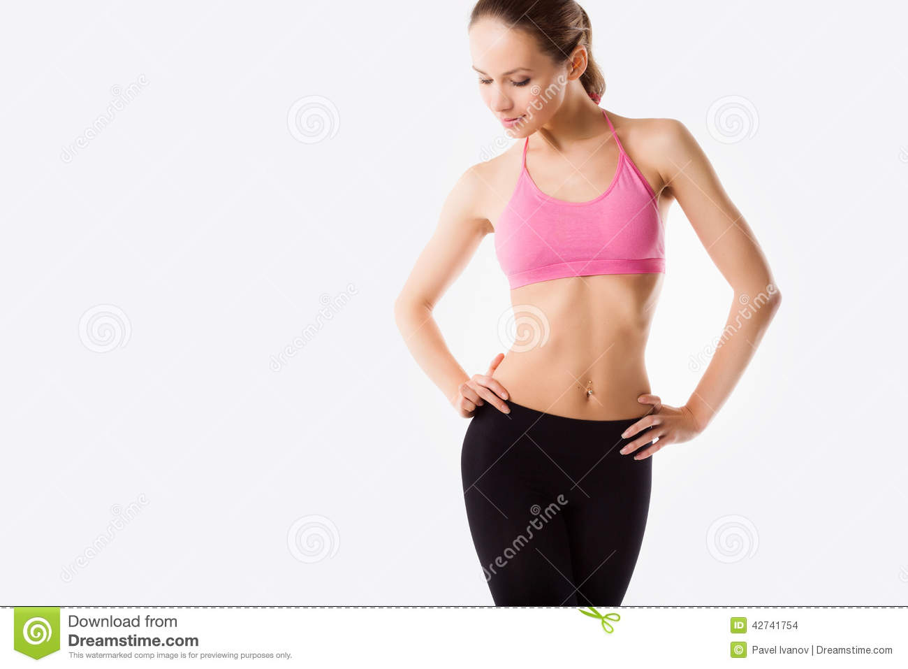 e36cb26e5327c Young Beautiful Woman Posing In A Gym Outfit. Stock Photo - Image of ...