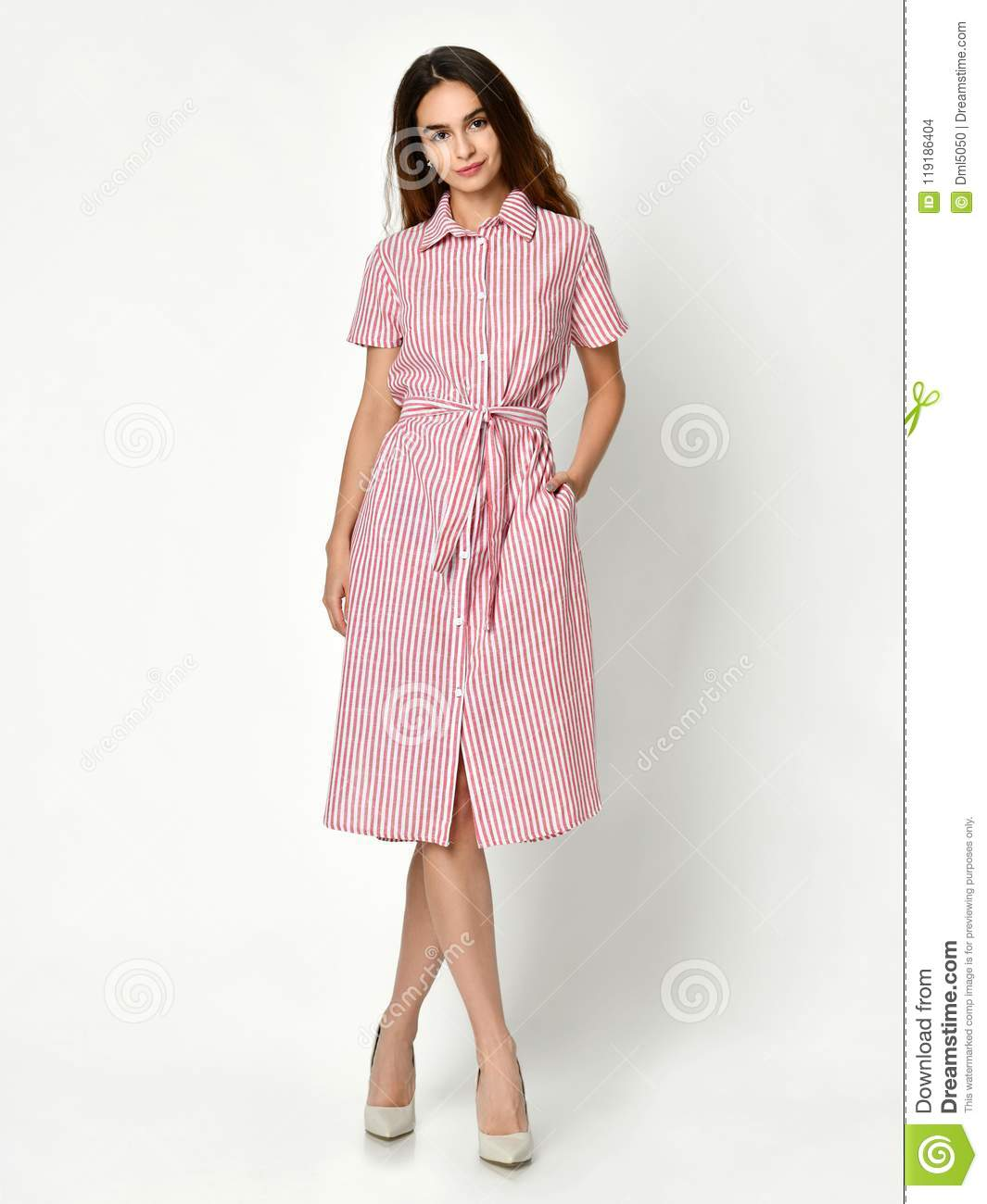 3170f8ed5 Young Beautiful Woman Posing In New Pink Stripes Casual Summer Dress ...