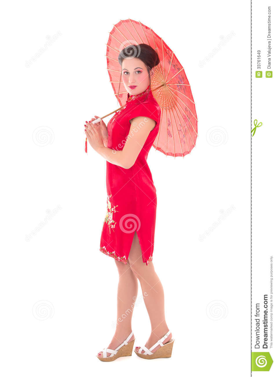 Young Beautiful Woman In Red Japanese Dress With Umbrella