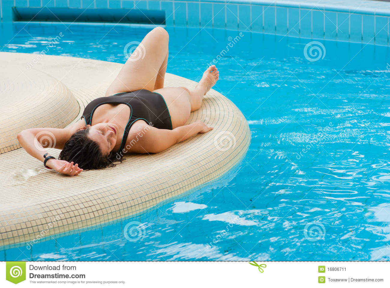 Young Beautiful Woman Resting Near Pool Stock Image Image Of Pleasure Lifestyle 16806711