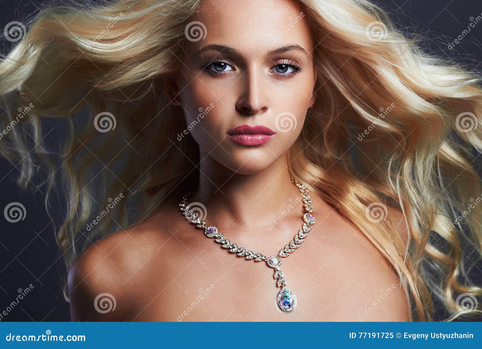 Young beautiful woman.Sexy Blond girl.jewelry