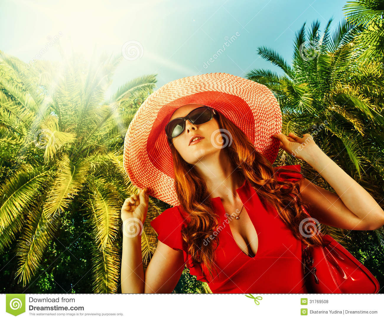 Young Beautiful Woman On Tropical Resort Stock Photo