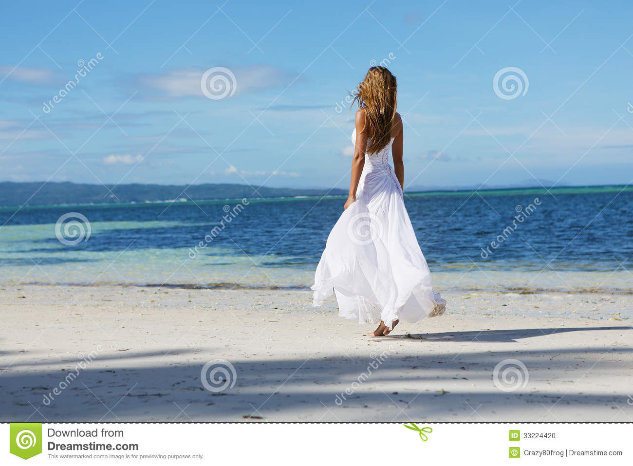 Young Beautiful Woman In Wedding Dress On Tropical Beach Stock Photo ...