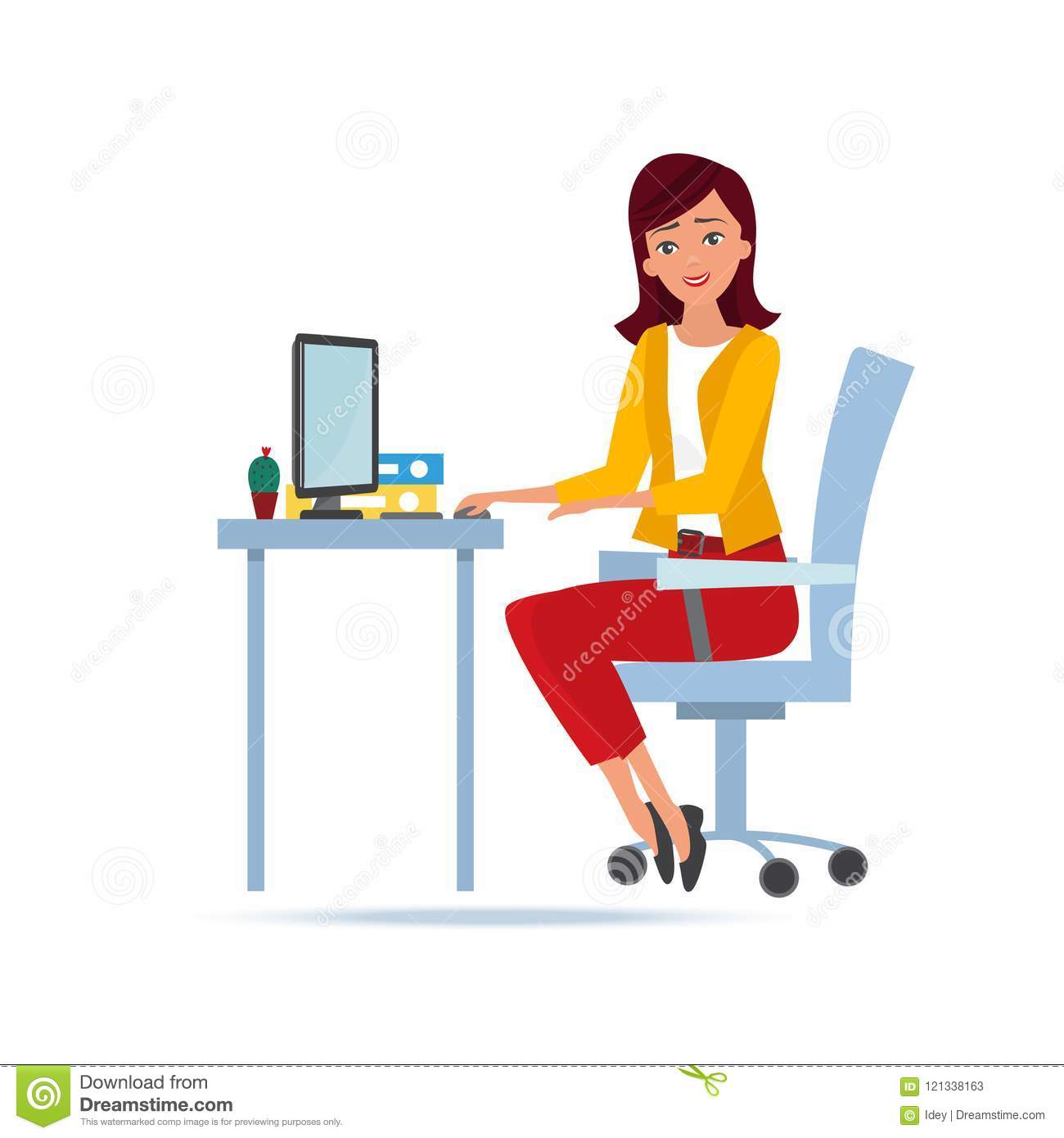 Young Beautiful Woman Working Cartoon Character Person In Office Work Stock Vector Illustration Of Communication Career 121338163
