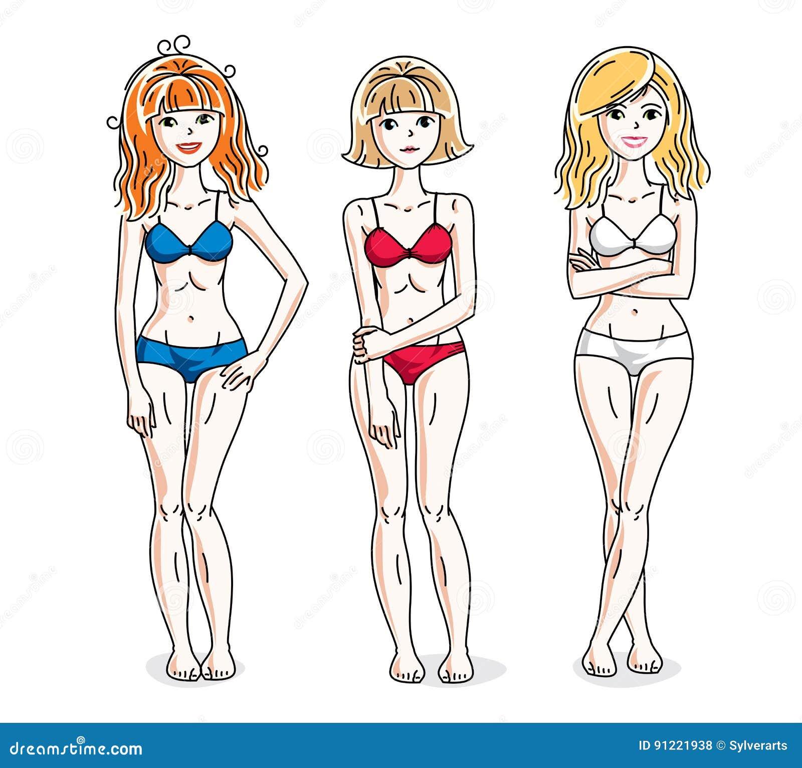 921e7bf2a5 Young beautiful women standing wearing colorful bikini. Vector diversity  people illustrations set.