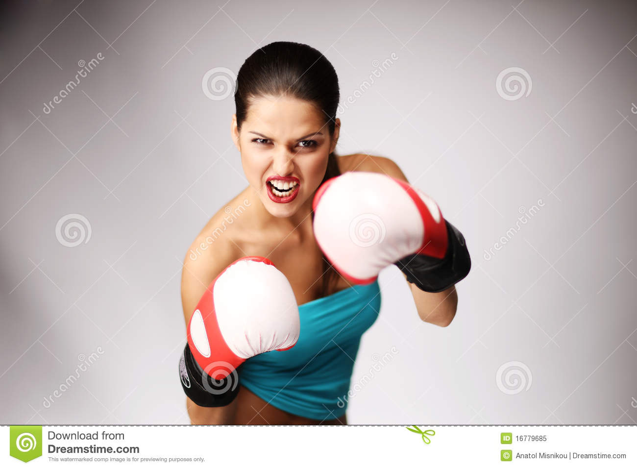 Young Beautiful Women Wiht Boxing Gloves Stock Image