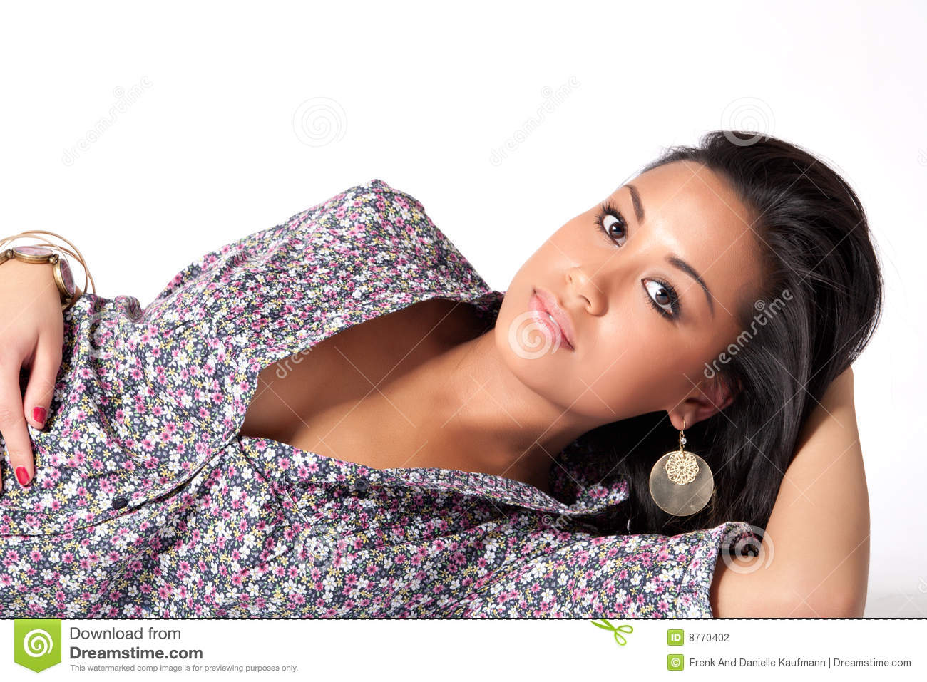 Young beautifull African woman lying down flirting