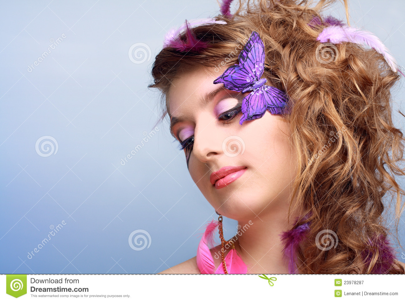 Young Beauty With Butterfly Face-art Royalty Free Stock ...
