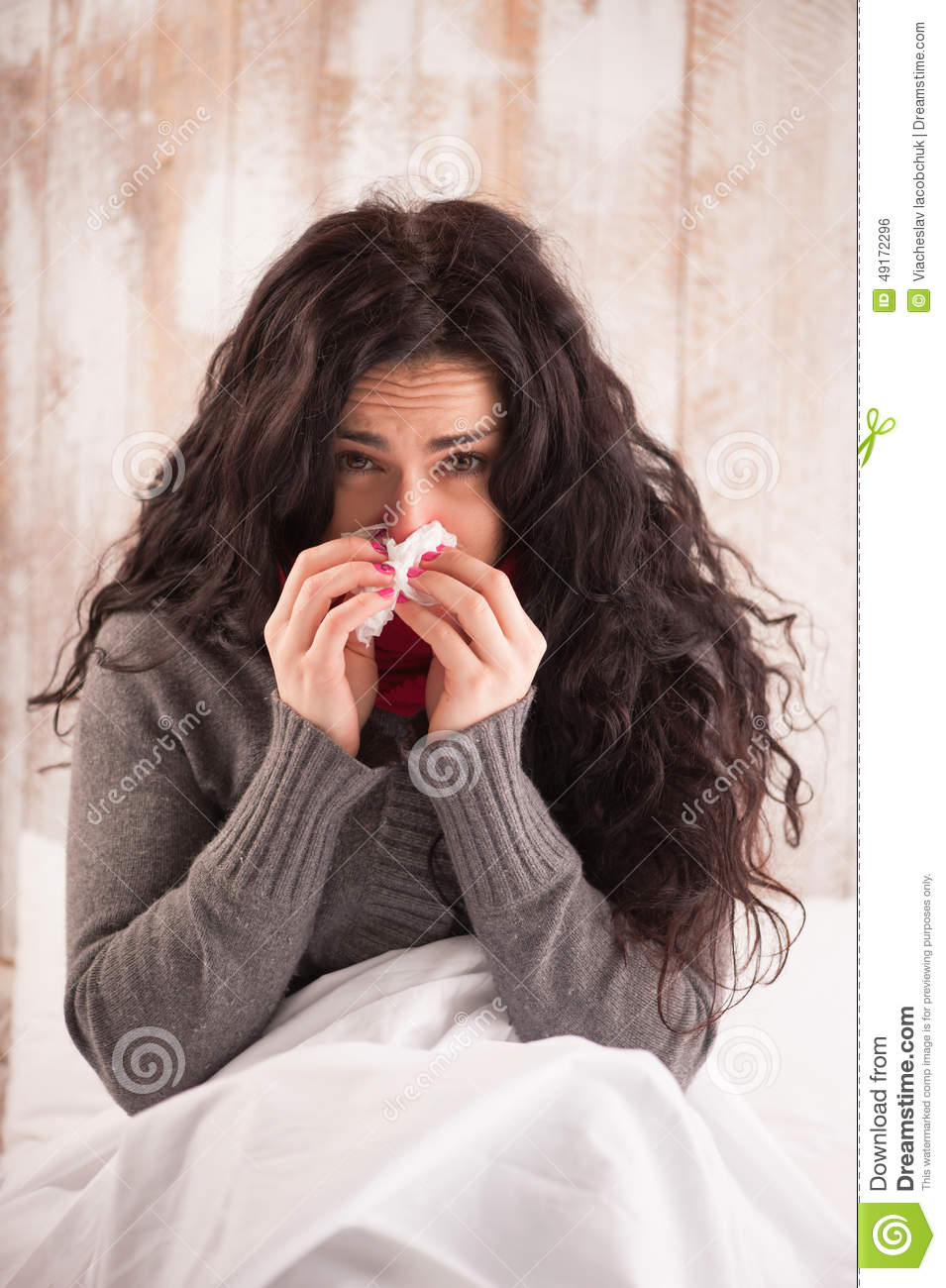Download Young beauty caught a cold stock photo. Image of cold - 49172296